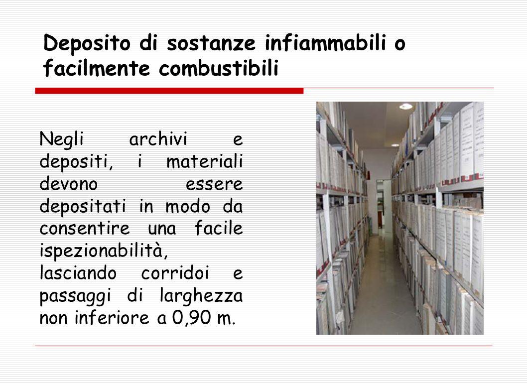 Negli archivi e depositi, i materiali devono essere depositati in modo da consentire una facile ispezionabilità, lasciando corridoi e passaggi di larg