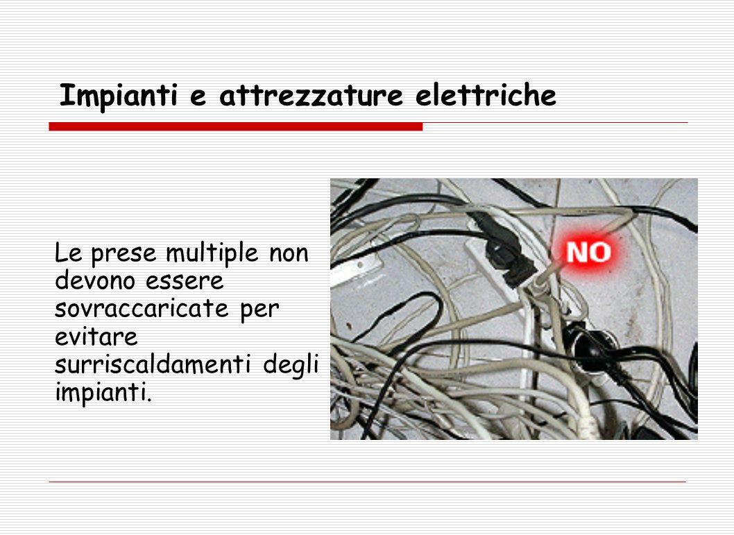 Le prese multiple non devono essere sovraccaricate per evitare surriscaldamenti degli impianti. Impianti e attrezzature elettriche