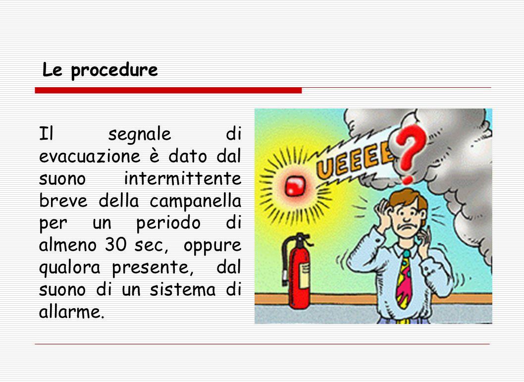 Il segnale di evacuazione è dato dal suono intermittente breve della campanella per un periodo di almeno 30 sec, oppure qualora presente, dal suono di