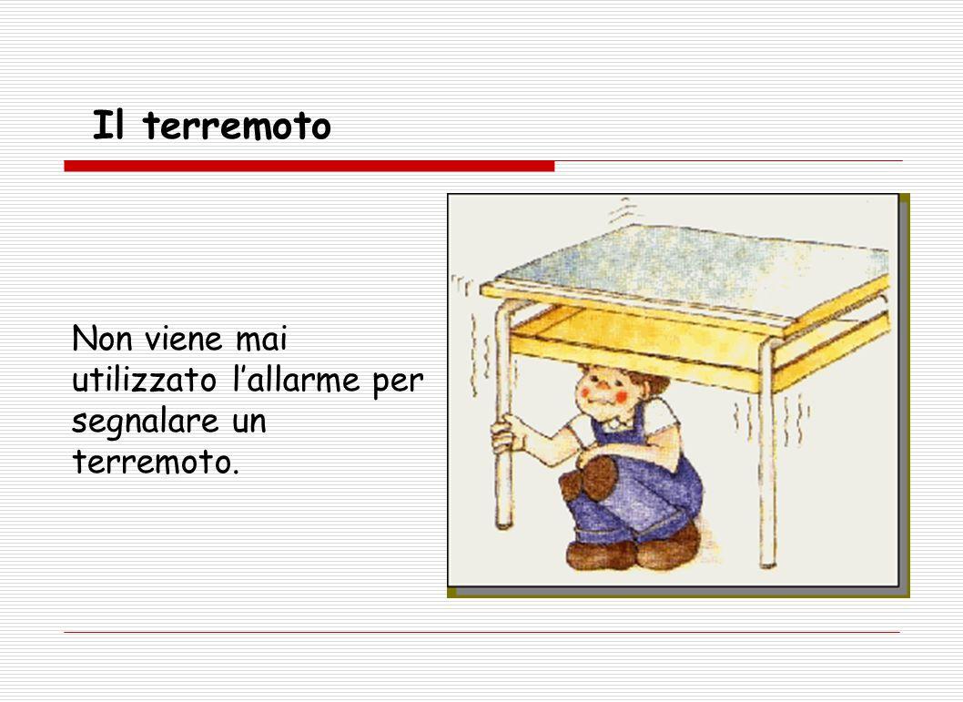 Non viene mai utilizzato l'allarme per segnalare un terremoto. Il terremoto