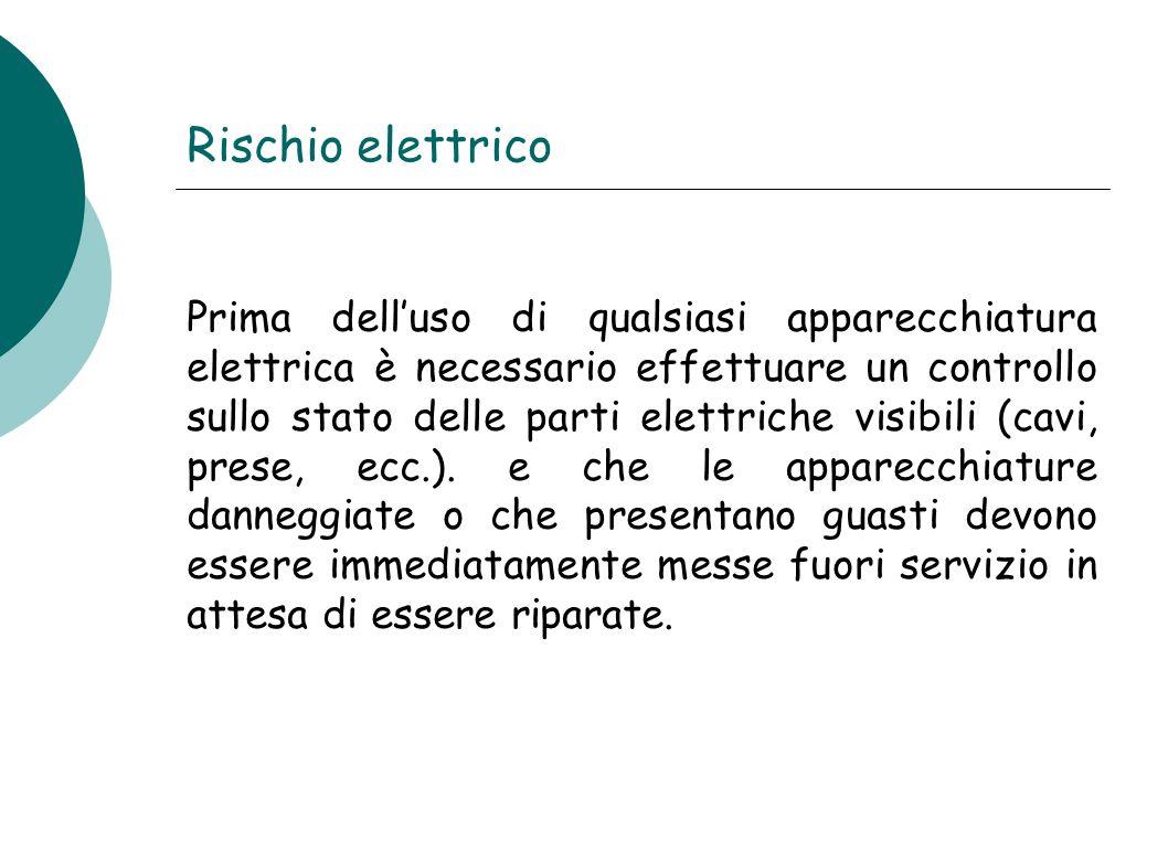Rischio elettrico Prima dell'uso di qualsiasi apparecchiatura elettrica è necessario effettuare un controllo sullo stato delle parti elettriche visibi