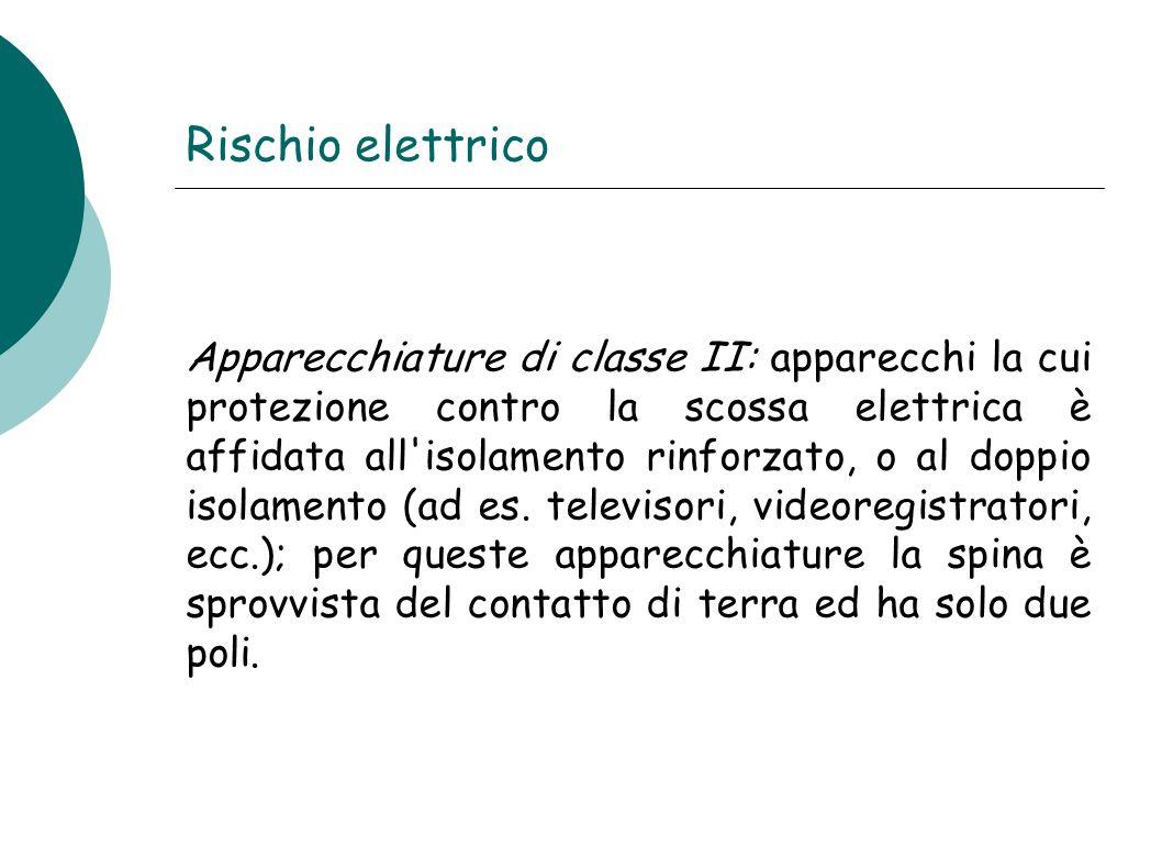 Rischio elettrico Apparecchiature di classe II: apparecchi la cui protezione contro la scossa elettrica è affidata all'isolamento rinforzato, o al dop