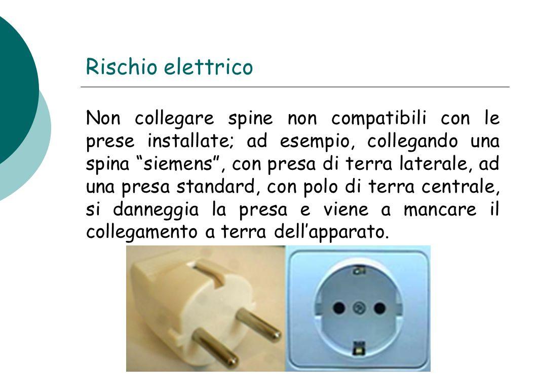 """Rischio elettrico Non collegare spine non compatibili con le prese installate; ad esempio, collegando una spina """"siemens"""", con presa di terra laterale"""