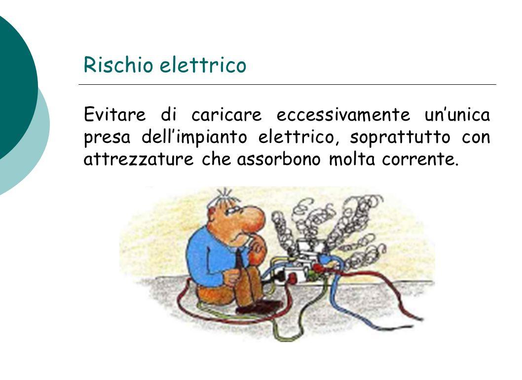 Rischio elettrico Evitare di caricare eccessivamente un'unica presa dell'impianto elettrico, soprattutto con attrezzature che assorbono molta corrente