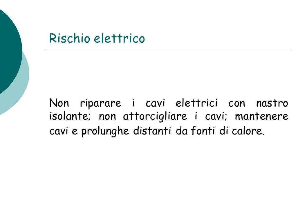 Rischio elettrico Non riparare i cavi elettrici con nastro isolante; non attorcigliare i cavi; mantenere cavi e prolunghe distanti da fonti di calore.