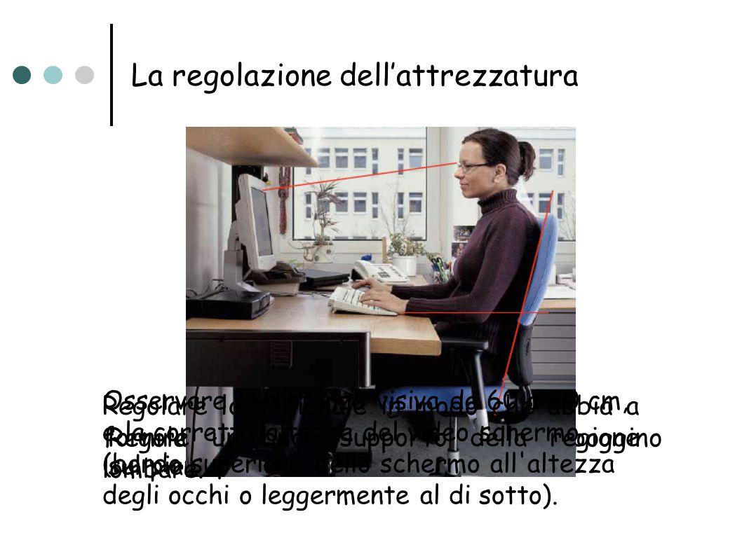La regolazione dell'attrezzatura Regolare la sedia in modo che i gomiti poggino sul piano di lavoro. Regolare lo schienale in modo che abbia a fornire