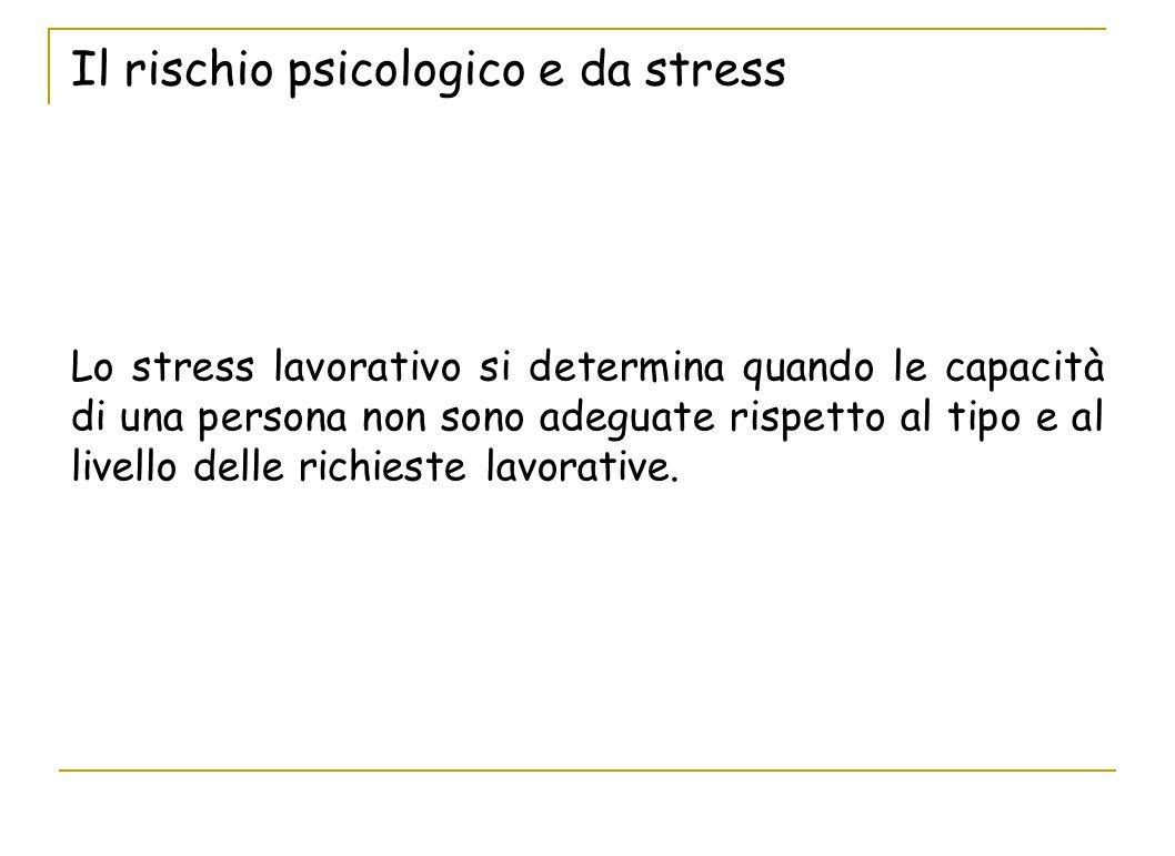 Lo stress lavorativo si determina quando le capacità di una persona non sono adeguate rispetto al tipo e al livello delle richieste lavorative.