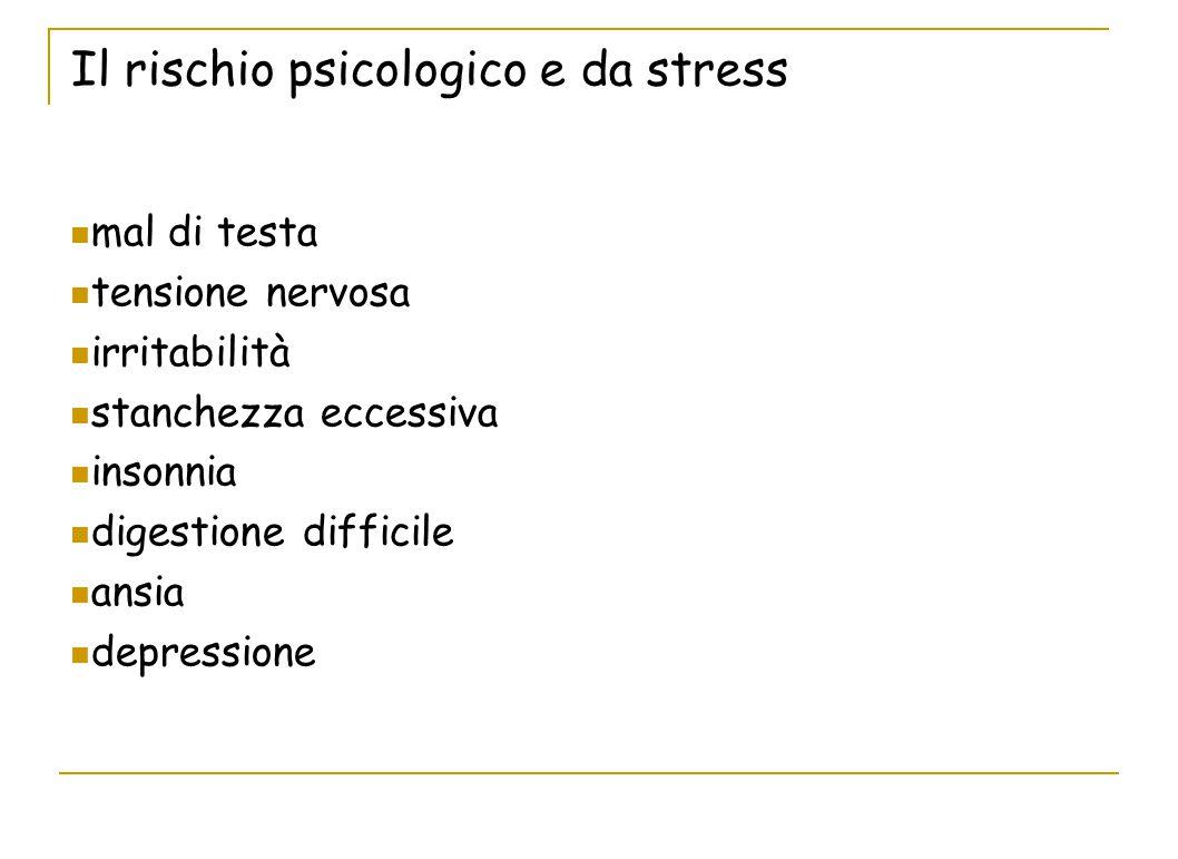 Il rischio psicologico e da stress mal di testa tensione nervosa irritabilità stanchezza eccessiva insonnia digestione difficile ansia depressione