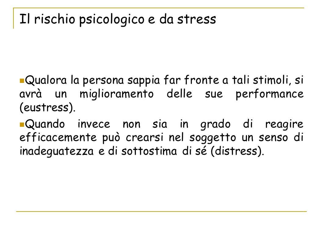 Il rischio psicologico e da stress Qualora la persona sappia far fronte a tali stimoli, si avrà un miglioramento delle sue performance (eustress). Qua