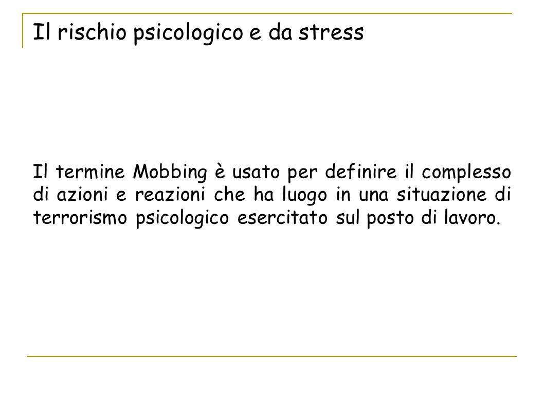 Il rischio psicologico e da stress Il termine Mobbing è usato per definire il complesso di azioni e reazioni che ha luogo in una situazione di terrori