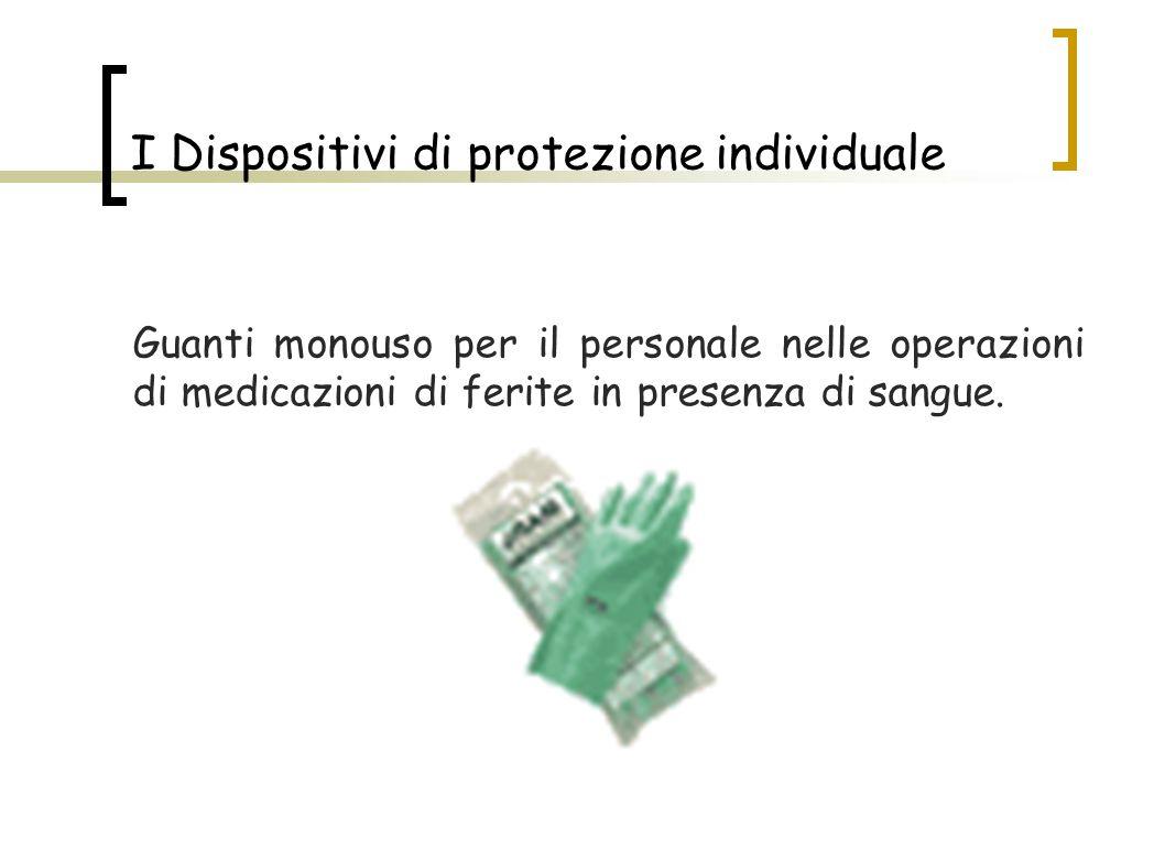 I Dispositivi di protezione individuale Guanti monouso per il personale nelle operazioni di medicazioni di ferite in presenza di sangue.