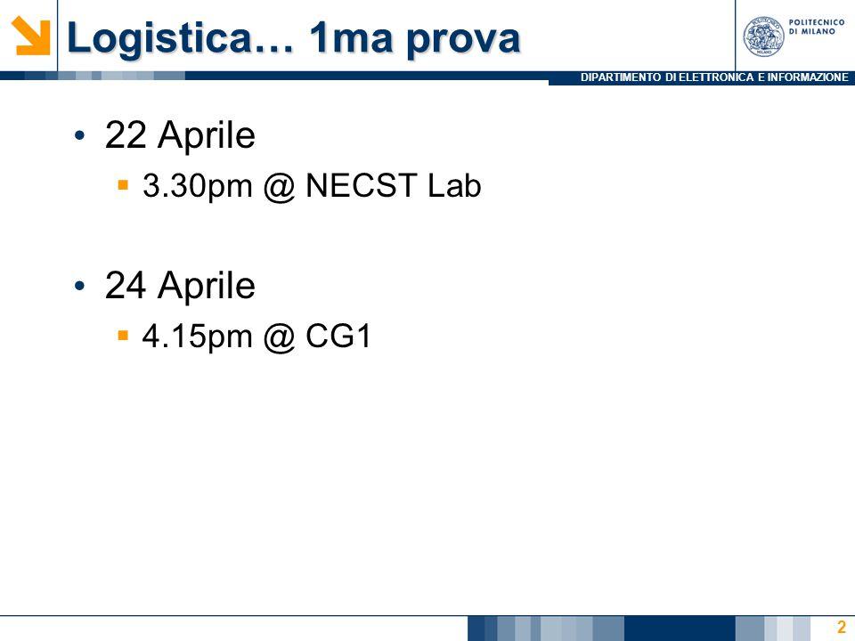 DIPARTIMENTO DI ELETTRONICA E INFORMAZIONE Logistica… 1ma prova 22 Aprile  3.30pm @ NECST Lab 24 Aprile  4.15pm @ CG1 2