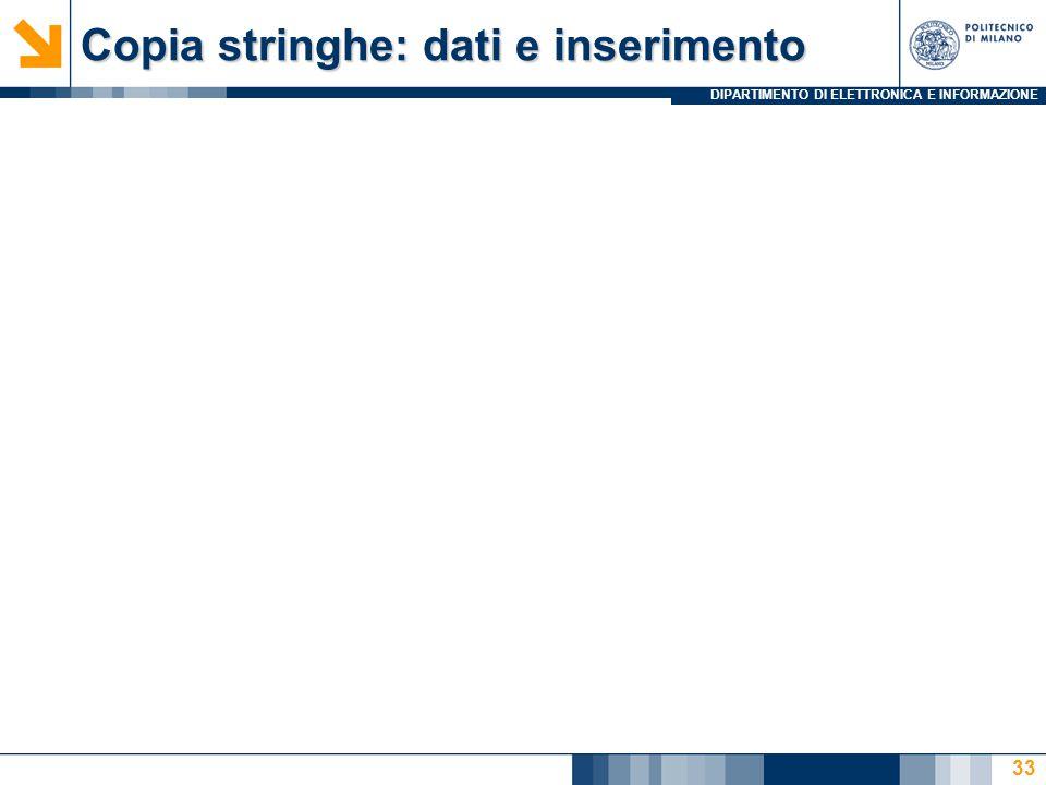 DIPARTIMENTO DI ELETTRONICA E INFORMAZIONE Copia stringhe: dati e inserimento 33