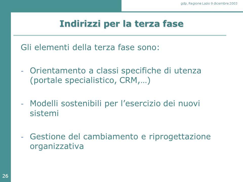 26 gdp, Regione Lazio 9 dicembre 2003 Indirizzi per la terza fase Gli elementi della terza fase sono: - Orientamento a classi specifiche di utenza (po