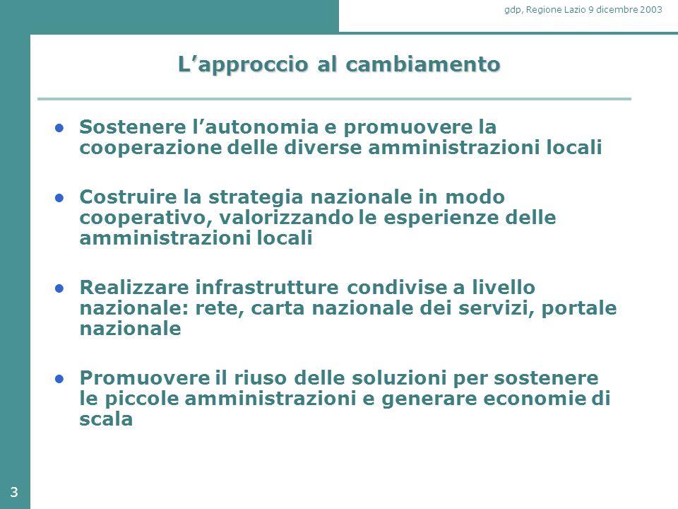 3 gdp, Regione Lazio 9 dicembre 2003 L'approccio al cambiamento Sostenere l'autonomia e promuovere la cooperazione delle diverse amministrazioni local