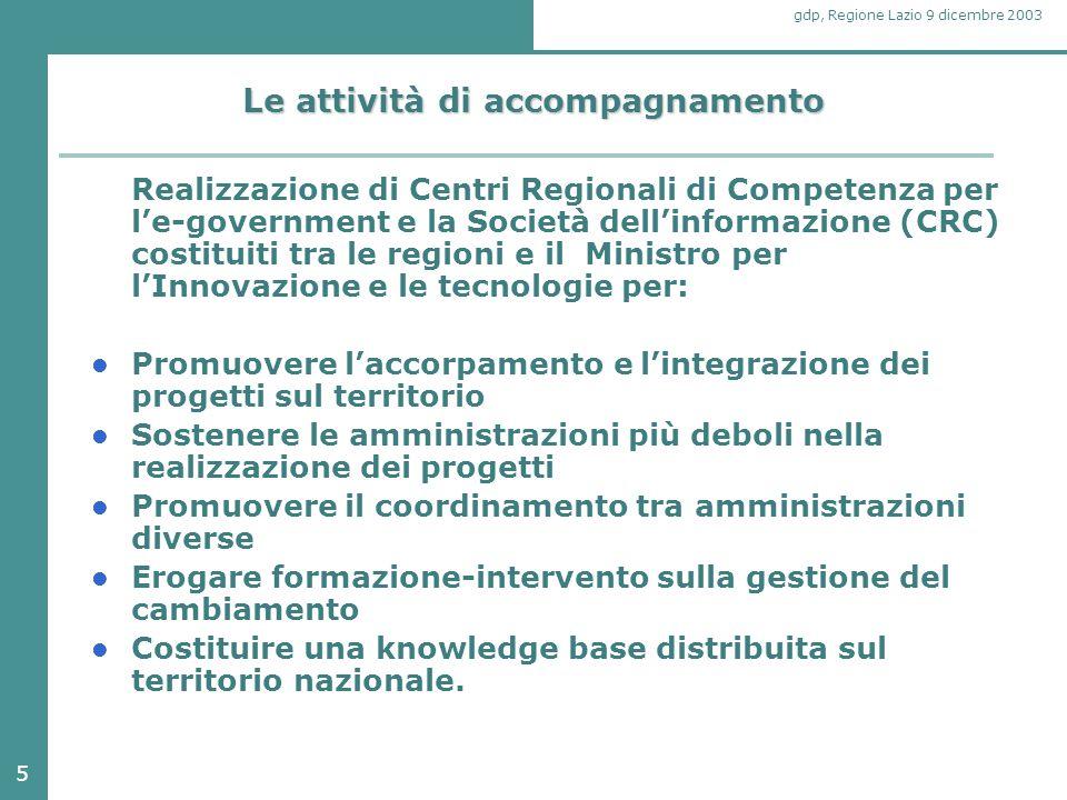 5 gdp, Regione Lazio 9 dicembre 2003 Le attività di accompagnamento Realizzazione di Centri Regionali di Competenza per l'e-government e la Società de