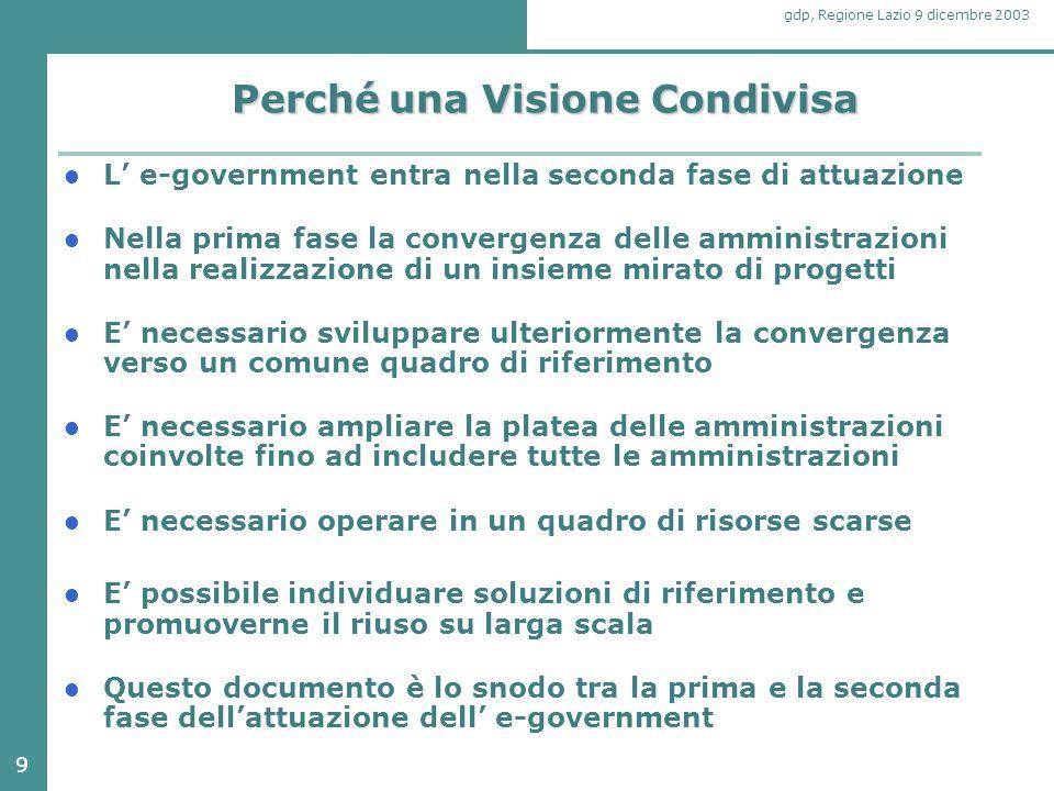 9 gdp, Regione Lazio 9 dicembre 2003 Perché una Visione Condivisa L' e-government entra nella seconda fase di attuazione Nella prima fase la convergen