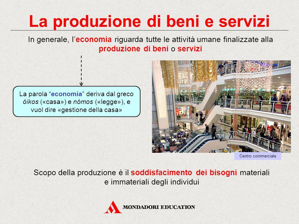 """La produzione di beni e servizi La parola """"economia"""" deriva dal greco óikos («casa») e nómos («legge»), e vuol dire «gestione della casa» In generale,"""