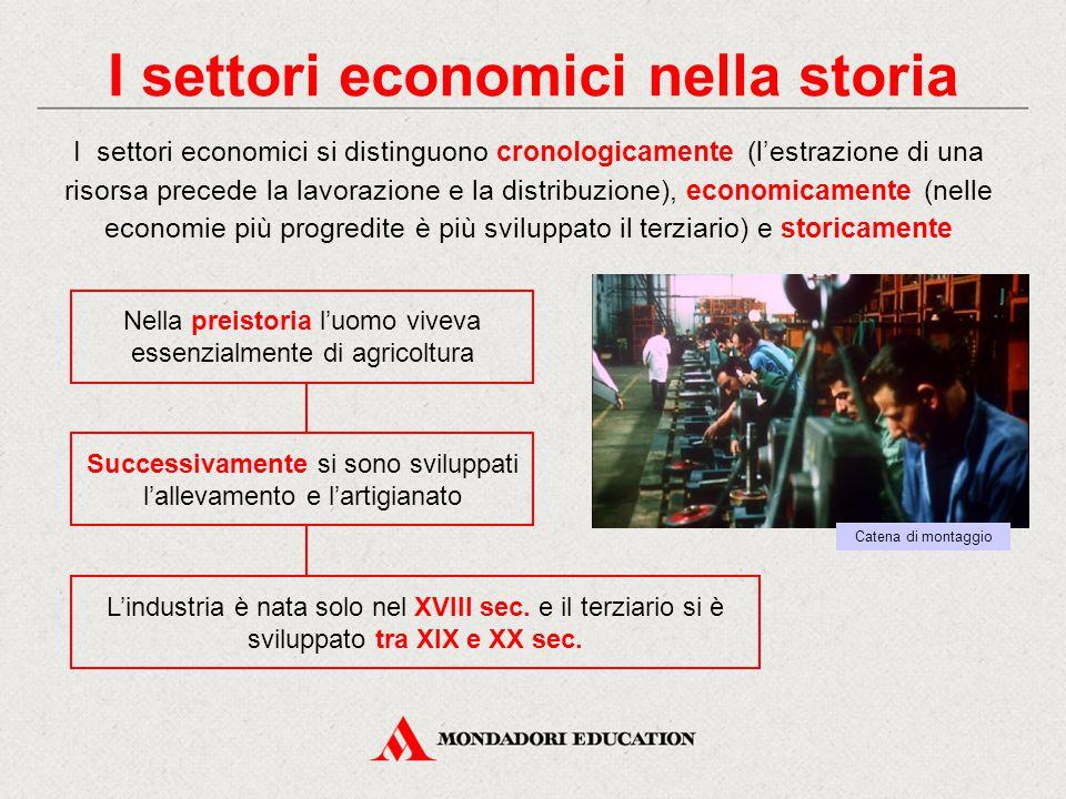I settori economici nella storia I settori economici si distinguono cronologicamente (l'estrazione di una risorsa precede la lavorazione e la distribu