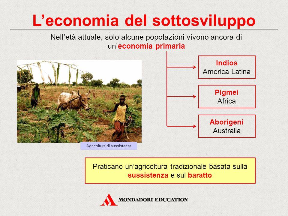 L'economia del sottosviluppo Nell'età attuale, solo alcune popolazioni vivono ancora di un'economia primaria Agricoltura di sussistenza Indios America