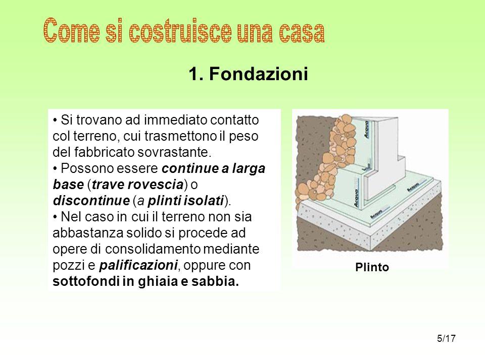 1. Fondazioni Si trovano ad immediato contatto col terreno, cui trasmettono il peso del fabbricato sovrastante. Possono essere continue a larga base (