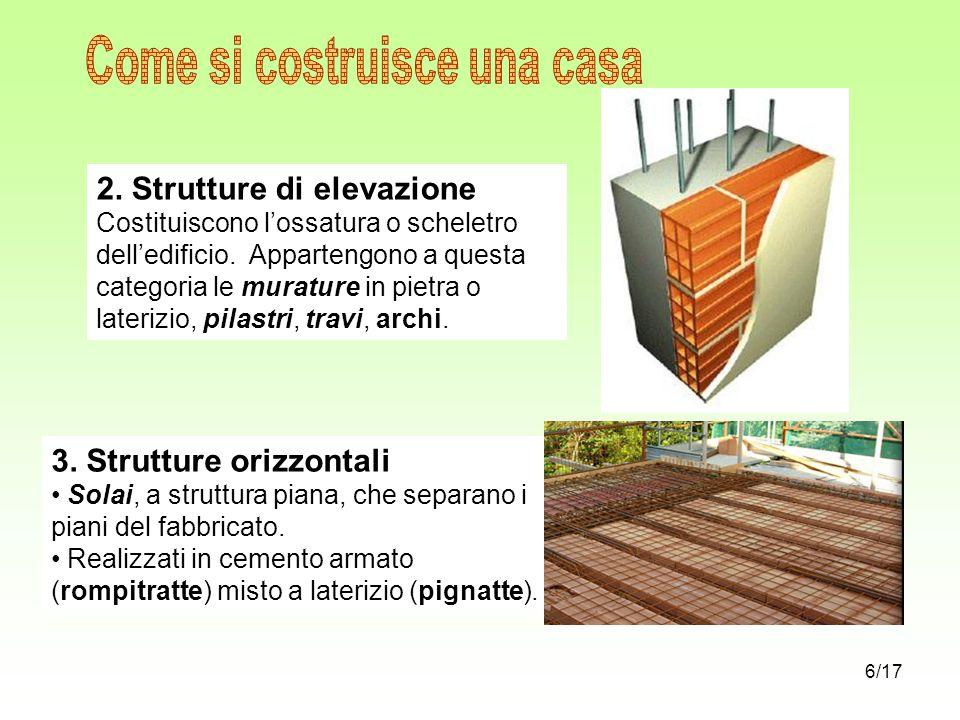 2. Strutture di elevazione Costituiscono l'ossatura o scheletro dell'edificio. Appartengono a questa categoria le murature in pietra o laterizio, pila