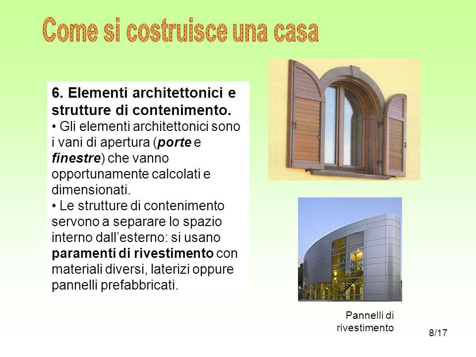 6. Elementi architettonici e strutture di contenimento. Gli elementi architettonici sono i vani di apertura (porte e finestre) che vanno opportunament