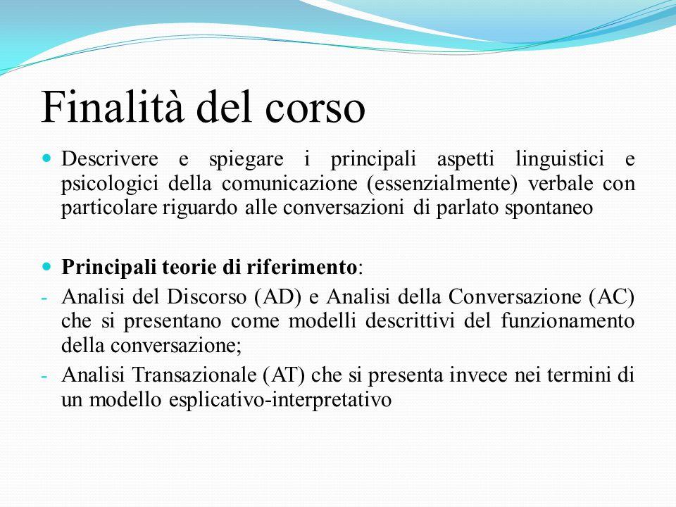 TESTI OBBLIGATORI 1. Bongelli, Riccioni (2008), La conversazione. Un modello di analisi integrato, Mc-Graw Hill, Milano; 2a. Bongelli (2005), Sovrappo