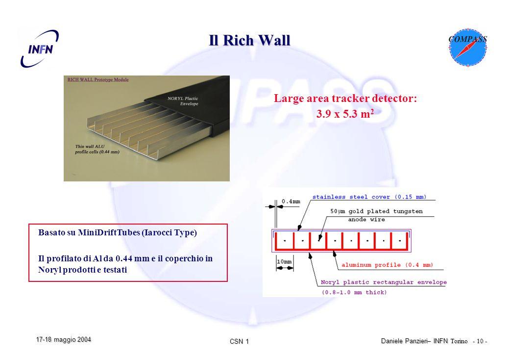 CSN 1 Daniele Panzieri – INFN Torino - 10 - 17-18 maggio 2004 Il Rich Wall Large area tracker detector: 3.9 x 5.3 m 2 Basato su MiniDriftTubes (Iarocci Type) Il profilato di Al da 0.44 mm e il coperchio in Noryl prodotti e testati