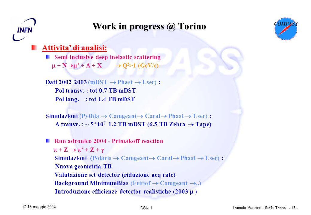 CSN 1 Daniele Panzieri – INFN Torino - 15 - 17-18 maggio 2004 Work in progress @ Torino Attivita' di analisi: Semi-inclusive deep inelastic scattering  + N  ' +  + X  Q 2 >1 (GeV/c) Dati 2002-2003 (mDST  Phast  User) : Pol transv.