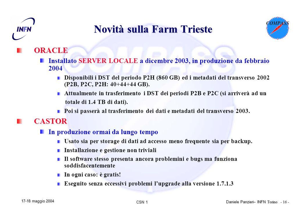 CSN 1 Daniele Panzieri – INFN Torino - 16 - 17-18 maggio 2004 Novità sulla Farm Trieste ORACLE Installato SERVER LOCALE a dicembre 2003, in produzione da febbraio 2004 Disponibili i DST del periodo P2H (860 GB) ed i metadati del transverso 2002 (P2B, P2C, P2H: 40+44+44 GB).