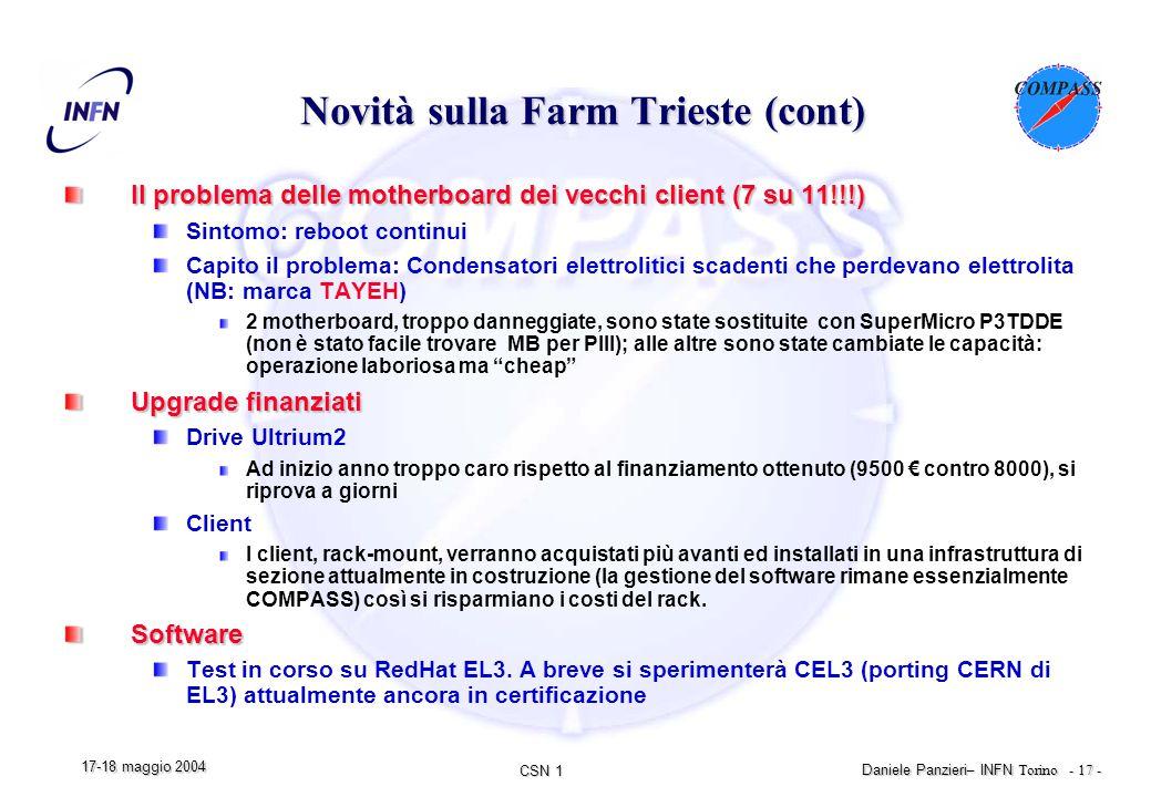 CSN 1 Daniele Panzieri – INFN Torino - 17 - 17-18 maggio 2004 Novità sulla Farm Trieste (cont) Il problema delle motherboard dei vecchi client (7 su 11!!!) Sintomo: reboot continui Capito il problema: Condensatori elettrolitici scadenti che perdevano elettrolita (NB: marca TAYEH) 2 motherboard, troppo danneggiate, sono state sostituite con SuperMicro P3TDDE (non è stato facile trovare MB per PIII); alle altre sono state cambiate le capacità: operazione laboriosa ma cheap Upgrade finanziati Drive Ultrium2 Ad inizio anno troppo caro rispetto al finanziamento ottenuto (9500 € contro 8000), si riprova a giorni Client I client, rack-mount, verranno acquistati più avanti ed installati in una infrastruttura di sezione attualmente in costruzione (la gestione del software rimane essenzialmente COMPASS) così si risparmiano i costi del rack.Software Test in corso su RedHat EL3.