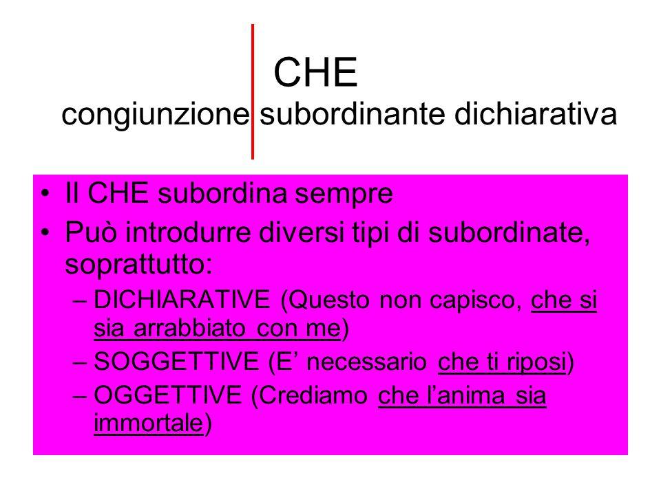 CHE Il CHE subordina sempre Può introdurre diversi tipi di subordinate, soprattutto: –DICHIARATIVE (Questo non capisco, che si sia arrabbiato con me)