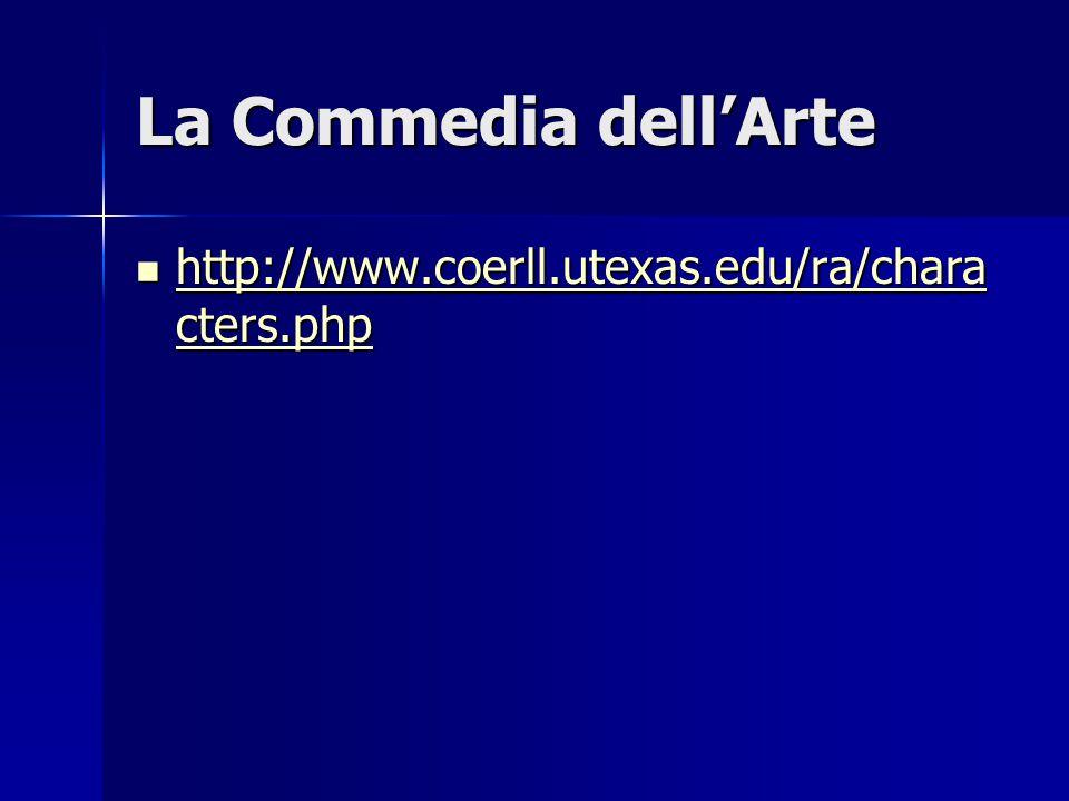 La Commedia dell'Arte http://www.coerll.utexas.edu/ra/chara cters.php http://www.coerll.utexas.edu/ra/chara cters.php http://www.coerll.utexas.edu/ra/