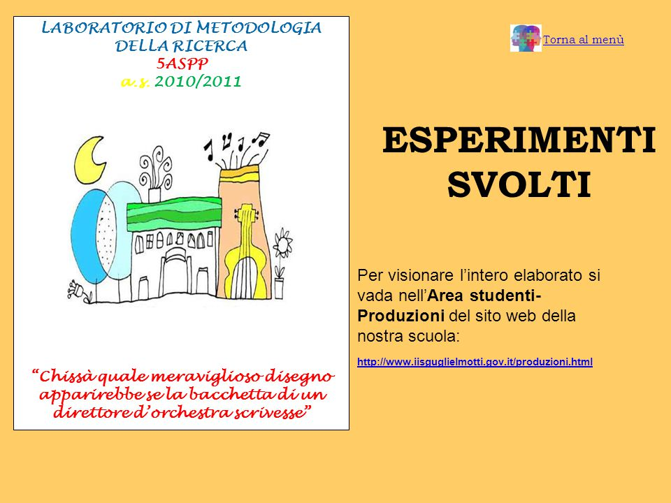 ESPERIMENTI SVOLTI LABORATORIO DI METODOLOGIA DELLA RICERCA 5ASPP a.s.