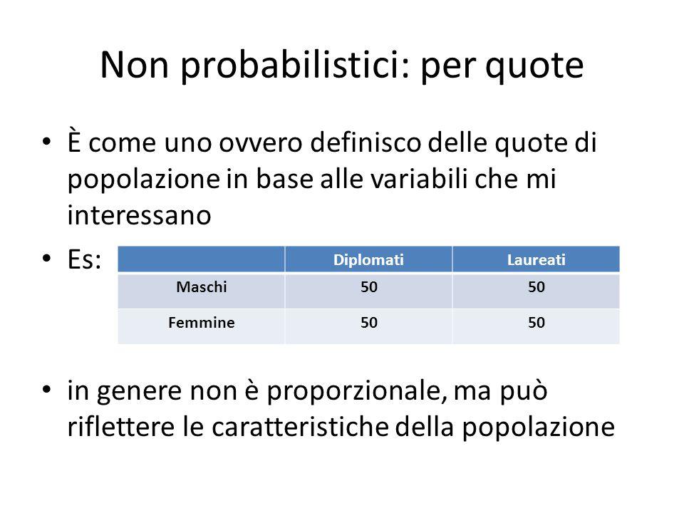 Non probabilistici: per quote È come uno ovvero definisco delle quote di popolazione in base alle variabili che mi interessano Es: in genere non è pro