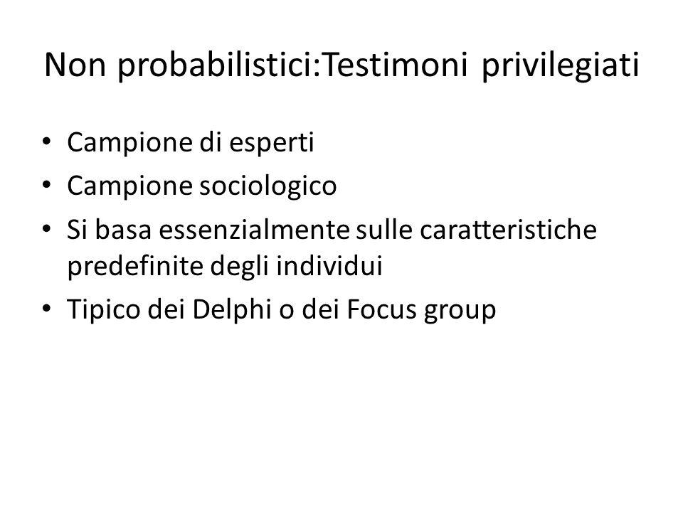 Non probabilistici:Testimoni privilegiati Campione di esperti Campione sociologico Si basa essenzialmente sulle caratteristiche predefinite degli indi
