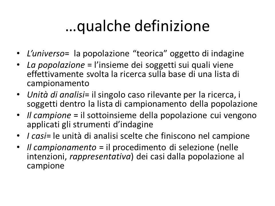 """…qualche definizione L'universo= la popolazione """"teorica"""" oggetto di indagine La popolazione = l'insieme dei soggetti sui quali viene effettivamente s"""