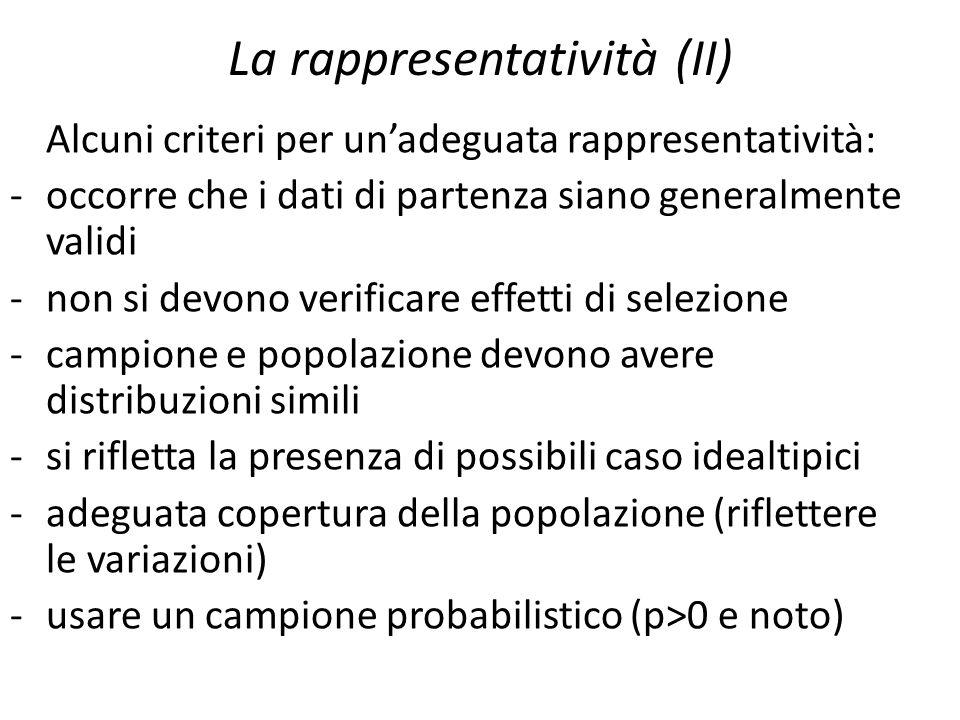 La rappresentatività (II) Alcuni criteri per un'adeguata rappresentatività: -occorre che i dati di partenza siano generalmente validi -non si devono v