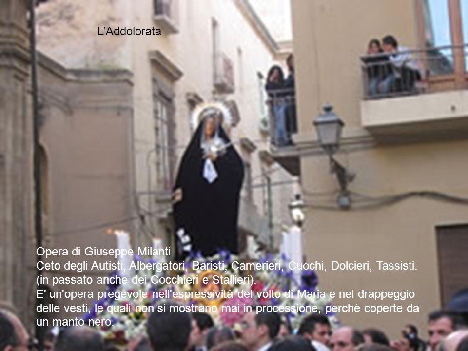 Opera di Giuseppe Milanti Ceto degli Autisti, Albergatori, Baristi, Camerieri, Cuochi, Dolcieri, Tassisti. (in passato anche dei Cocchieri e Stallieri