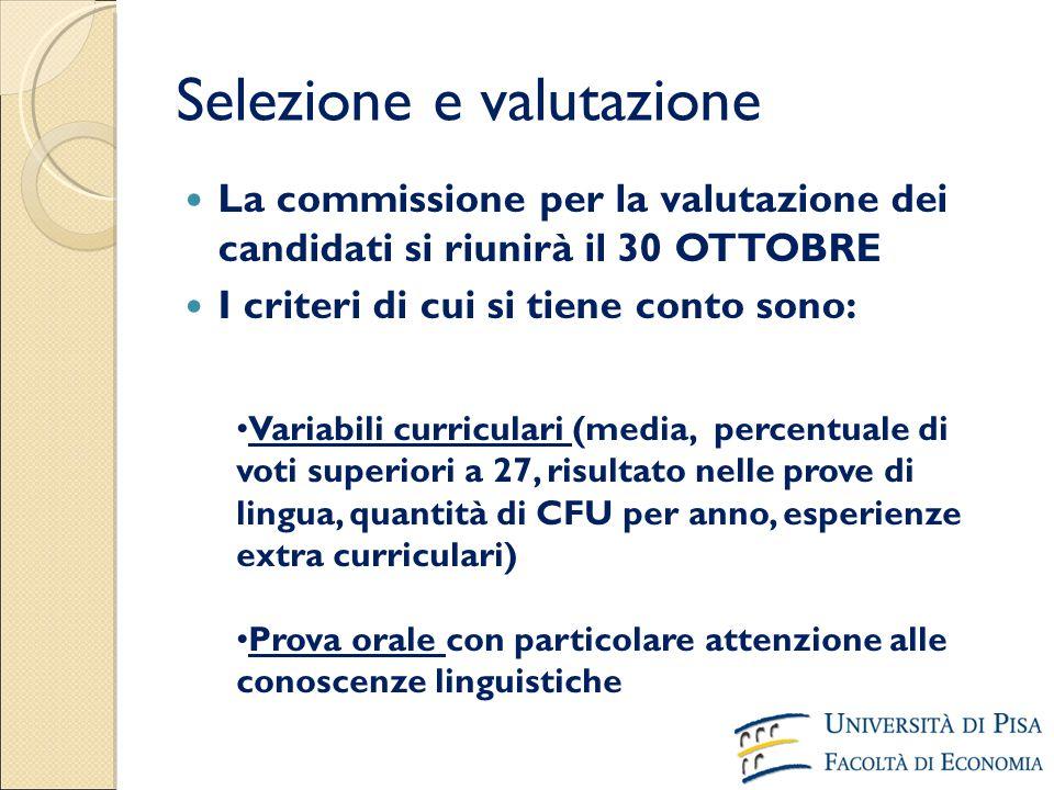 Selezione e valutazione La commissione per la valutazione dei candidati si riunirà il 30 OTTOBRE I criteri di cui si tiene conto sono: Variabili curri