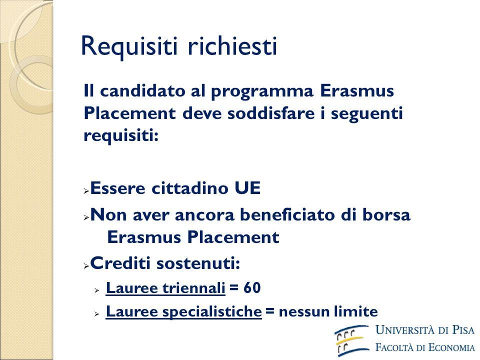 Requisiti richiesti Il candidato al programma Erasmus Placement deve soddisfare i seguenti requisiti:  Essere cittadino UE  Non aver ancora benefici