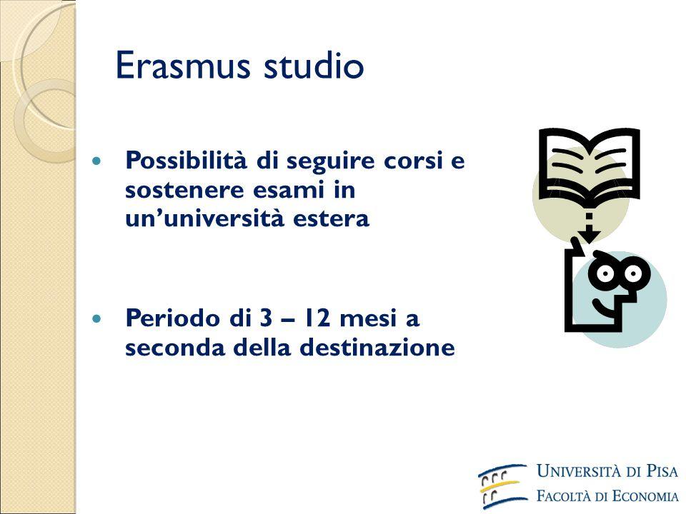 Erasmus studio Periodo di 3 – 12 mesi a seconda della destinazione Possibilità di seguire corsi e sostenere esami in un'università estera