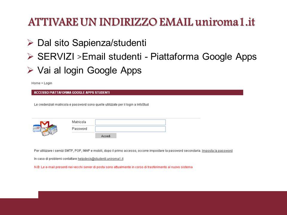  Dal sito Sapienza/studenti  SERVIZI > Email studenti - Piattaforma Google Apps  Vai al login Google Apps ATTIVARE UN INDIRIZZO EMAIL uniroma1.it