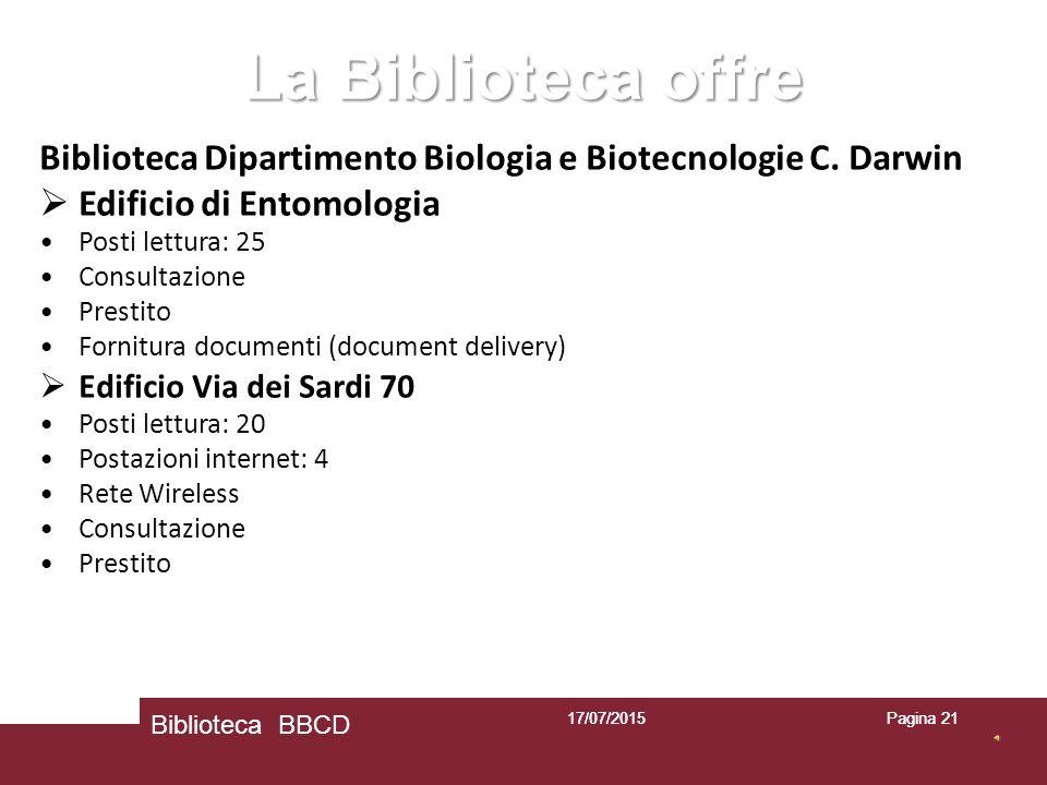 17/07/2015Pagina 2117/07/2015 Biblioteca BBCD Pagina 21 La Biblioteca offre Biblioteca Dipartimento Biologia e Biotecnologie C.