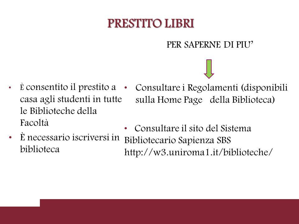 CONSULTAZIONE PERIODICI E' POSSIBILE Verificare attraverso il catalogo collettivo online (OPAC) se il periodico è posseduto dalla Biblioteca COME.
