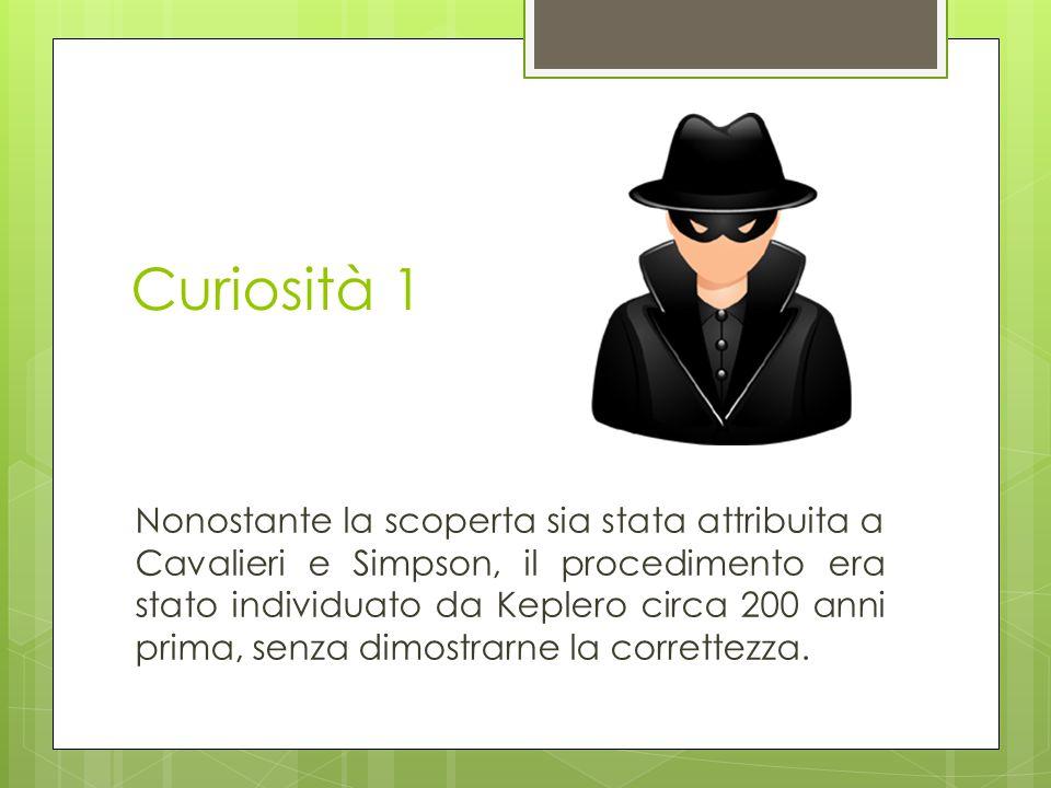 Curiosità 1 Nonostante la scoperta sia stata attribuita a Cavalieri e Simpson, il procedimento era stato individuato da Keplero circa 200 anni prima,
