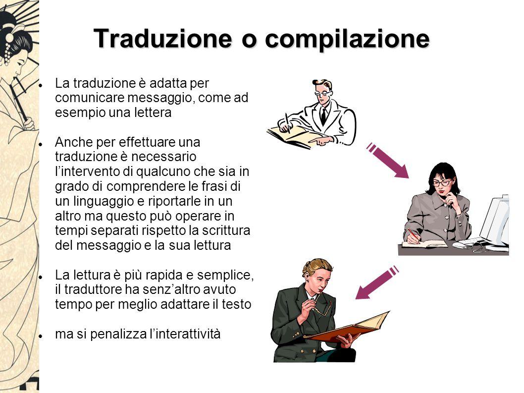 Traduzione o compilazione La traduzione è adatta per comunicare messaggio, come ad esempio una lettera Anche per effettuare una traduzione è necessario l'intervento di qualcuno che sia in grado di comprendere le frasi di un linguaggio e riportarle in un altro ma questo può operare in tempi separati rispetto la scrittura del messaggio e la sua lettura La lettura è più rapida e semplice, il traduttore ha senz'altro avuto tempo per meglio adattare il testo ma si penalizza l'interattività