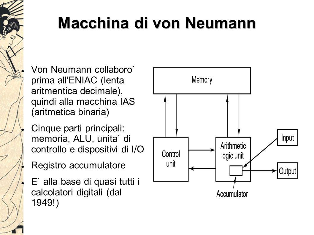 Macchina di von Neumann Von Neumann collaboro` prima all ENIAC (lenta aritmentica decimale), quindi alla macchina IAS (aritmetica binaria) Cinque parti principali: memoria, ALU, unita` di controllo e dispositivi di I/O Registro accumulatore E` alla base di quasi tutti i calcolatori digitali (dal 1949!)