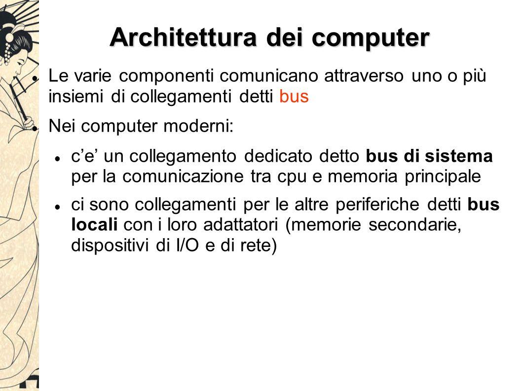Architettura dei computer Le varie componenti comunicano attraverso uno o più insiemi di collegamenti detti bus Nei computer moderni: c'e' un collegam